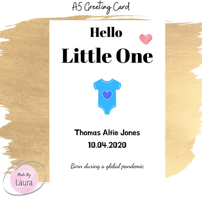 BABY BIRTH CARD BABY BOY BABY GIRL BORN IN 2020 LOCKDOWN PANDEMIC