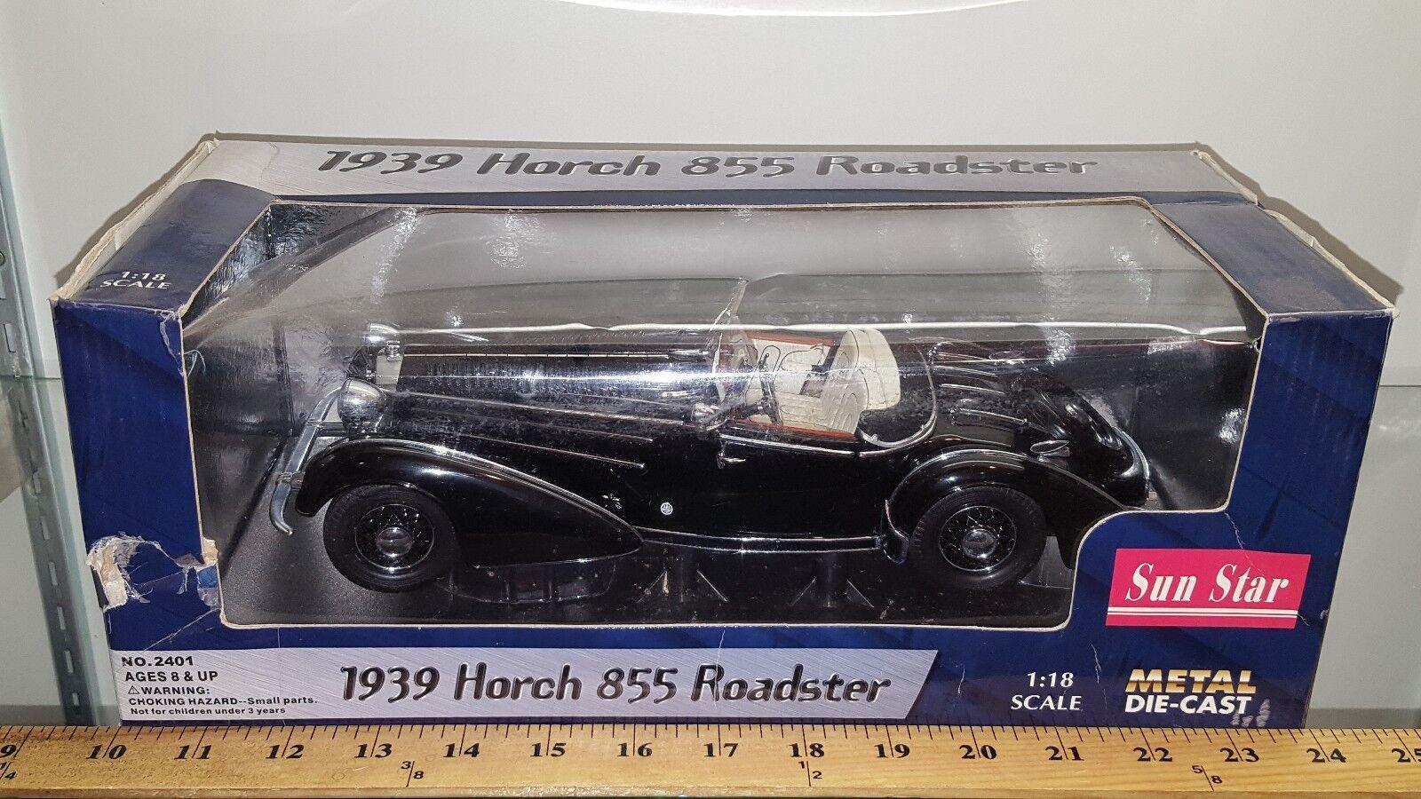 1 18 SUN STAR 1939 HORCH 855 ROADSTER Noir M-U