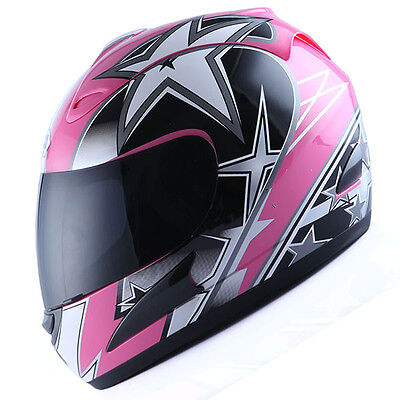NEW Motorcycle Street Bike Adult Full Face Helmet Lady Star Pink S M L XL