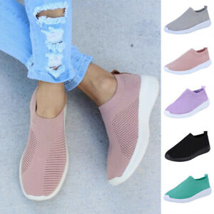 Womens-Ladies-Slip-On-Flat-Trainers-Sneakers-Mesh-Comfort-Pumps-Shoes