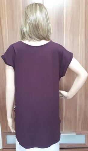Ex F/&F Ladies Wine Floral Print Drop Back Tunic Top Size 10-22