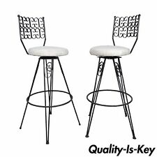 Vtg Pair Mid Century Modern Arthur Umanoff Grenada Wrought Iron Bar Stools Chair