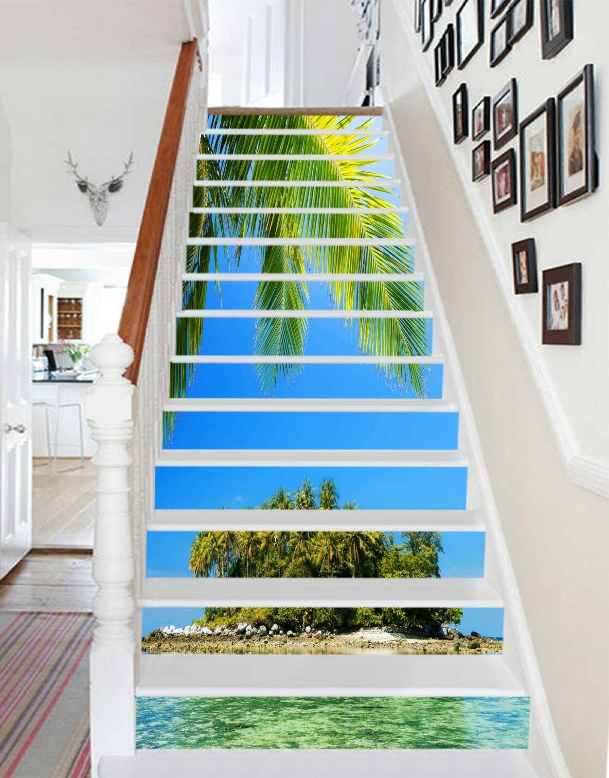 3D Islands Sea Stair Risers Decoration Photo Mural Vinyl Decal Wallpaper US