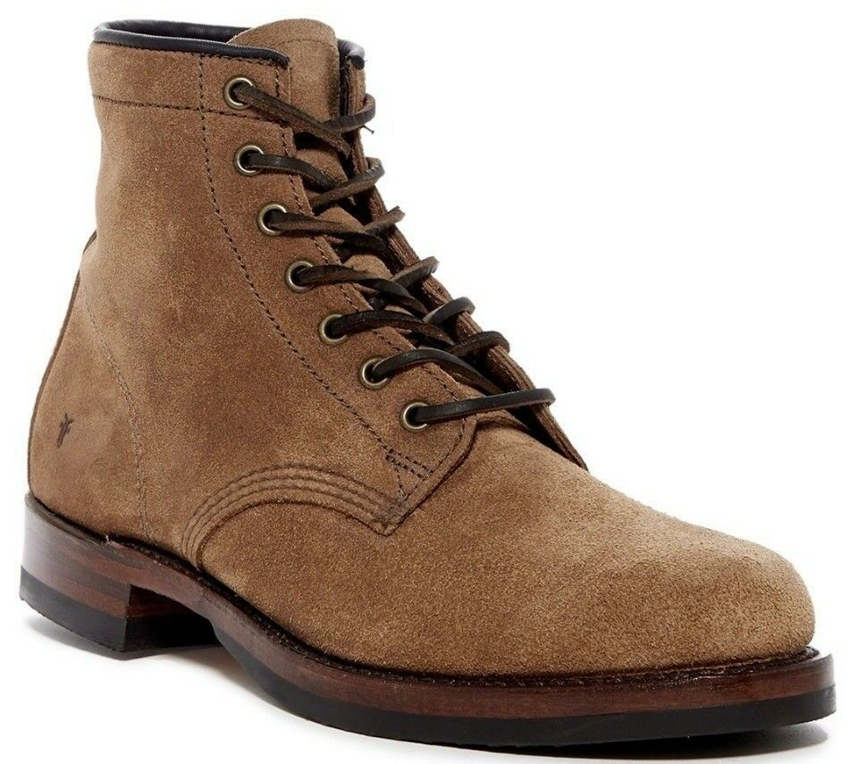 378 Frye John Addison Lace-Up Men's Combat Boot Suede FATIGUE Brown Size 7M