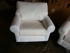 pottery barn pb basic sofa grand arm chair accent no slipcover poly cushions ebay. Black Bedroom Furniture Sets. Home Design Ideas