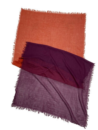 BETTY BARCLAY RED&PURPLE  SCARF 100% SILK SOLID 78
