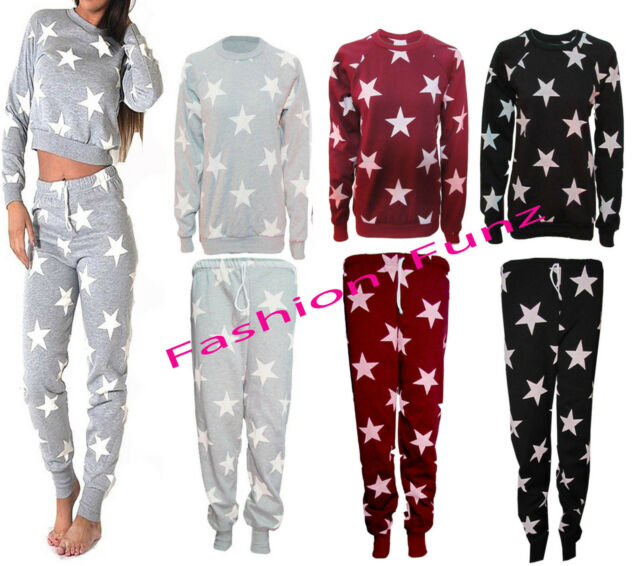 New Ladies Womens Star Print Tracksuit Jogging Bottoms Sweatshirt Pant Size 8-14