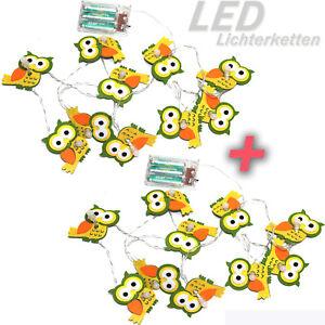 2-x-LED-LICHTERKETTE-FILZ-EULE-Herbst-DEKO-Batterie-Timer-20-Lichter-ue5ue743