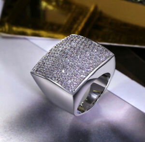 5ed04b2aa 18k White Gold Large Square Ring made w Swarovski Crystal Stone Luxe ...