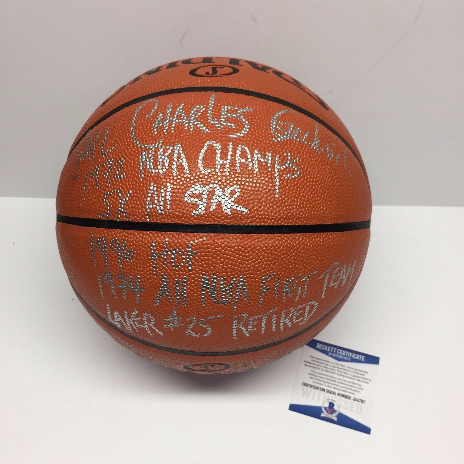 Gail 'Charles' Goodrich Signed Spalding NBA Basketball