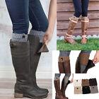 Women Winter Leg Warmers Button Crochet Knit Boot Socks Toppers Cuffs Fashion