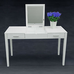 Dressing Table Makeup Desk W Foldable Vanity Mirror 2