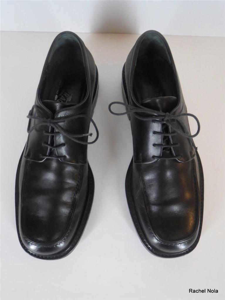 8112eb310531a5 Ferragamo shoes Dress Oxfords Mens Size 8.5 D Black Black Black Leather  Lace-Up Wide ...