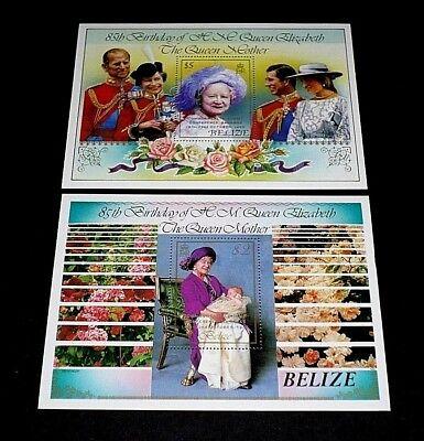 Nice Lqqk Ovprnt Souvenir Sheets Mnh Belize #540-541 1985 Queen Elizabeth