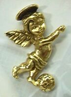 Guardian Angel Soccer Lapel Pin In Antique Gold Plate, Made In Usa,