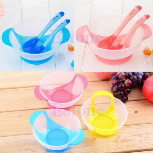 1 Set Baby Suction Bowl Slip-resistant Tableware and Temperature Sensing Spoon