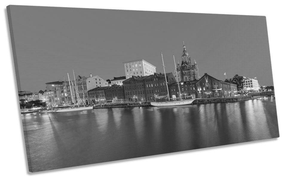 Helsinki Finland Stadt Skyline B&W BOX FRAME CANVAS Kunst PANORAMIC Bild