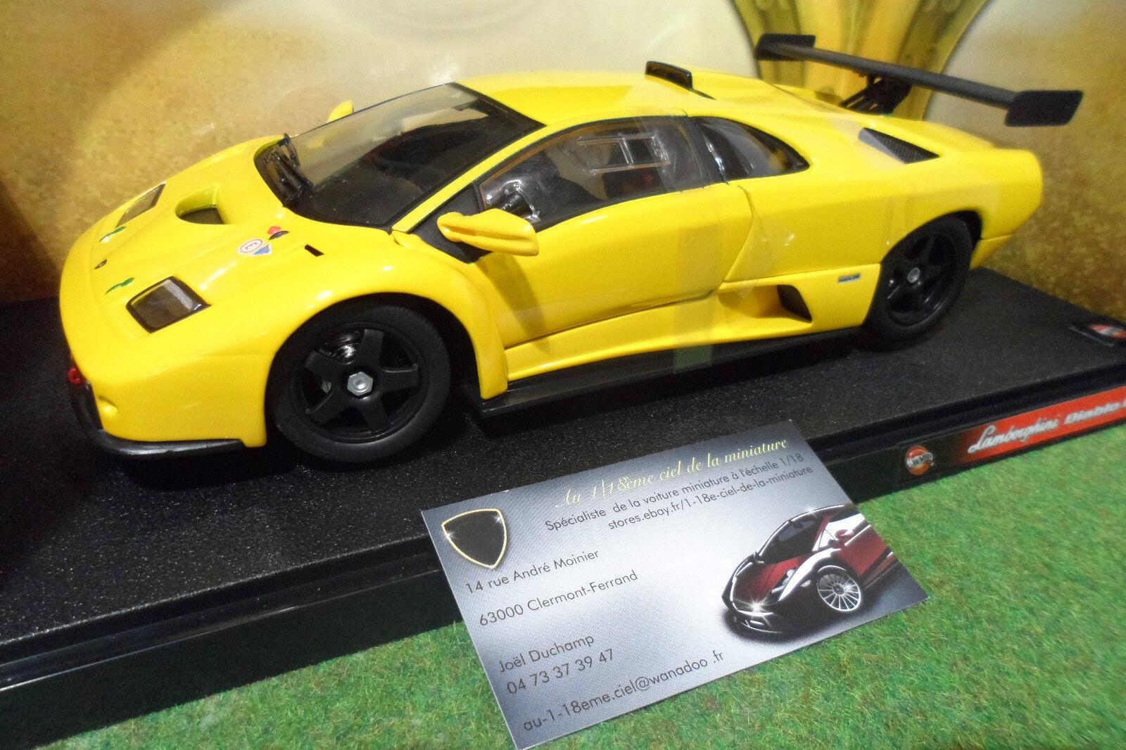 LAMBORGHINI DIABLO GTR Jaune à l'échelle 1 18 HOT WHEELS 53835 voiture miniature