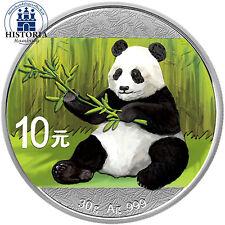 Cina 10 Yuan ARGENTO 2017 stgl 30 grammi ARGENTO MONETA CINA PANDA IN COLORE