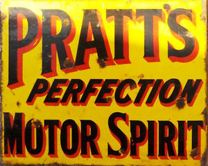 Pratt-039-s-Perfection-Motor-Spirit-Advert-VINTAGE-ENAMEL-METAL-TIN-SIGN-WALL-PLAQUE