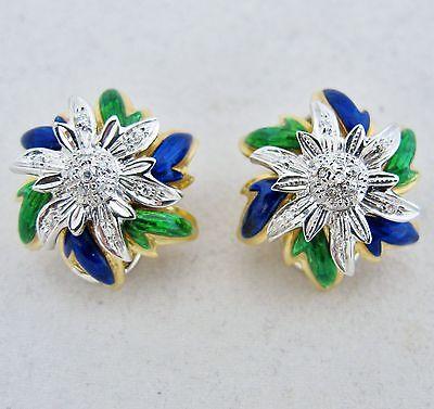 Italian 18K Yellow Gold Omega Clip Earrings with Enamel & Diamonds  (17.3 grams)