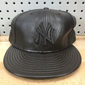 New-York-Yankees-MLB-Baseball-New-Era-59FIFTY-Dark-Brown-Leather-Hat-EUC-RARE