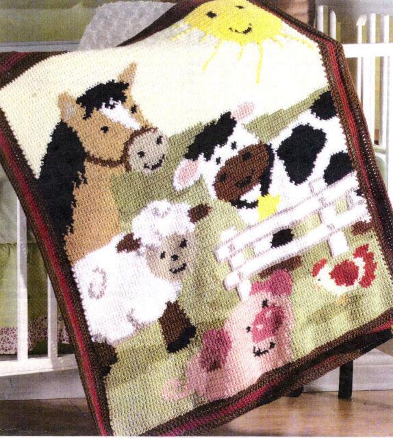 Baby Blanket Farm Animals Cow Pig Sheep Horse Chicken Aran Crochet