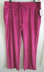 302d2bd7cdc2f Womens Soft Velour Pants XL Pink Berry Relaxed Fit FADED GLORY Sweat ...