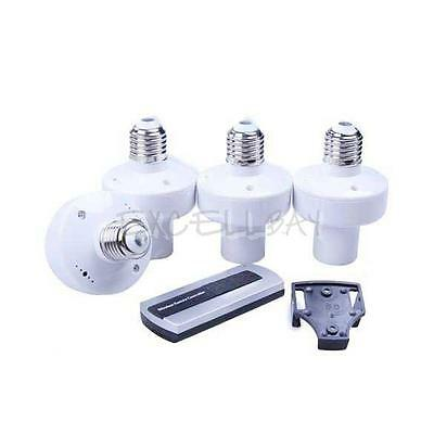 4Pcs E27 Wireless Remote Control Light Lamp Bulb Holder Cap Socket Switch E0Xc