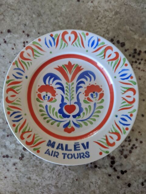 Malev Air Tours Hungary Travel Souvenir Painted Decorative Plate Wall Hanging