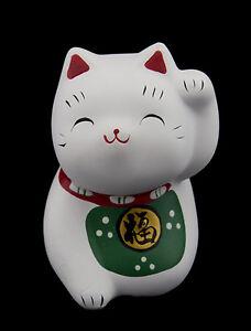 Figurine,Chat,Japonais,bobtail,resine,Maneki,Neko,Blanc,
