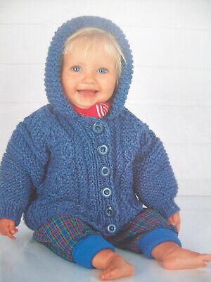 Baby Boys CARDIGAN HOODED JACKET KNITTING PATTERN Chunky 18 24 in 6 mth 5 yrs | eBay