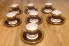 7 AYNSLEY COBALT & GOLD DEMITASSE CUPS & SAUCERS