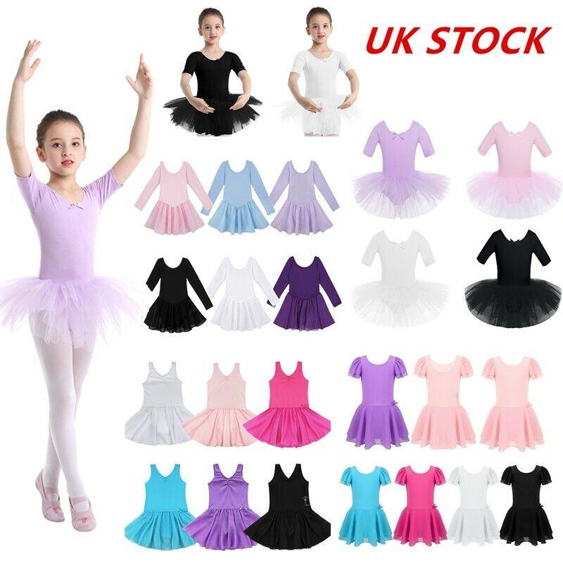 UK Kids Girls Gymnastic Ballet Dance Leotard Dress Chiffon Tutu Skirt Dancewear