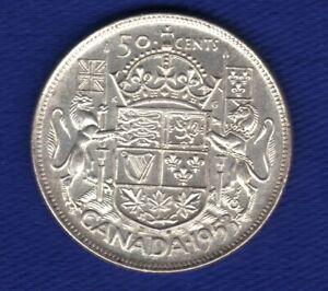 80-Silver-1953-Canada-50-Fifty-cent-Coin-Canada-Half-Dollar-Lg-Date-Sh-Strap
