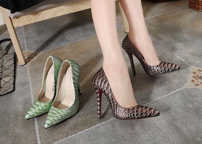 tacón de aguja Zapatos salón elegantes mujer talón perno 11 marrón verde 9316