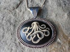 OCTOPUS HAND PAINTED CAMEO PENDANT NECKLACE - STEAMPUNK, VACATION, NAUTICAL