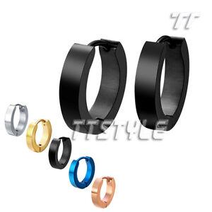 Quality-TT-S-Steel-Hoop-Earrings-Mens-amp-Womens-Size-10-20mm-Width-2-7mm-PairEH01