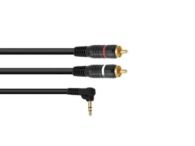 OMNITRONIC Adapterkabel 3,5 Klinke 90°/2xCinch 0,5m