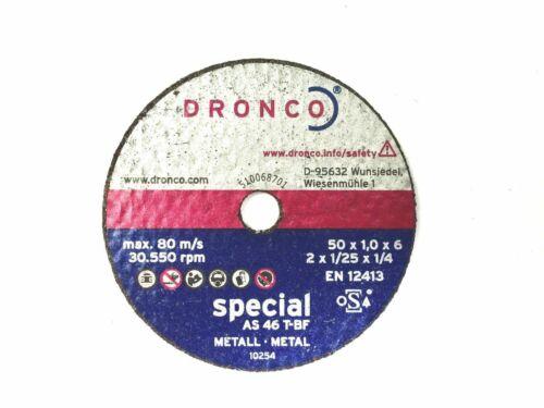 "DRONCO 50mm 2/""  METAL  CUT OFF GRINDING WHEEL ARBOUR 1mm SLIT 2mm GRINDING"