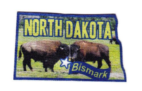 "/""BISMARK NORTH DAKOTA/""  State Shape Capitol City Iron On Printed Patch"