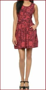 NWT-Jill-Stuart-Sz-10-Red-Floral-Fit-and-Flare-Belted-Poplin-Dress-WITH-POCKETS