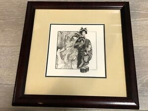 "Laurie Jordan Original Pencil Drawing Japanese Geisha, Framed, 7"" x 7"" (Image)"