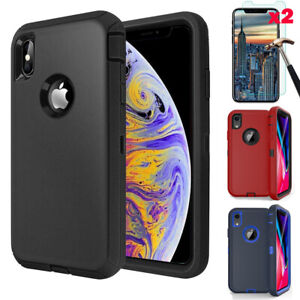 For Apple iPhone XR 12 Pro Max Case Cover Hybrid Rugged Hard + Screen Protector