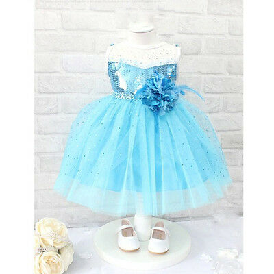 2015 Bling Baby Girls Princess Snow Queen Costume Flower Tulle Gown Dress 1-7Y