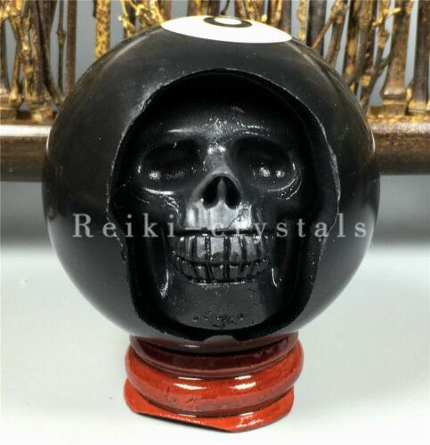 stand Hand Carved Head Human Skull in Billiard Pool Ball  Billiard 52mm 8#