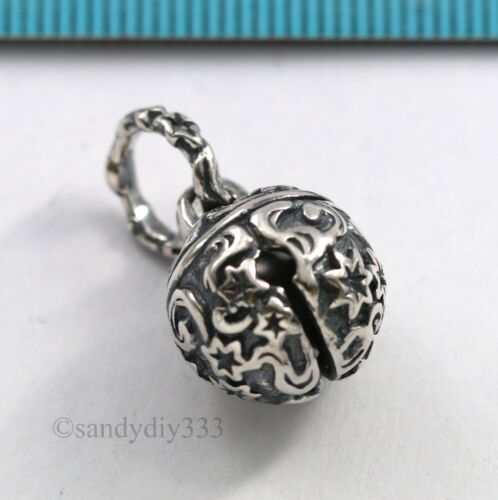 1x STERLING SILVER SWEET SOUND JINGLE BELL DANGLE BALL CHARM PENDANT 12mm #2908