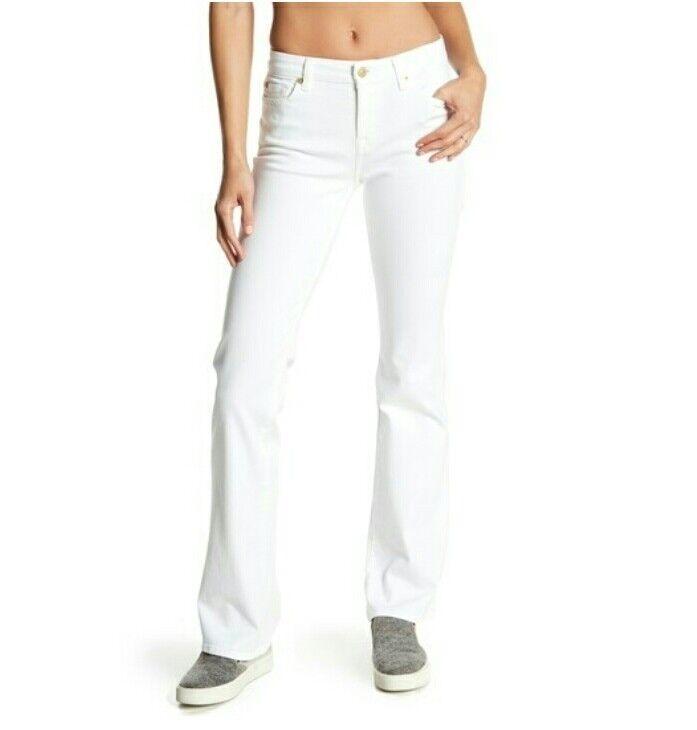 7 For All Mankind damen Squiggle Kimmie Stiefelcut Jeans Weiß Denim Größe 28