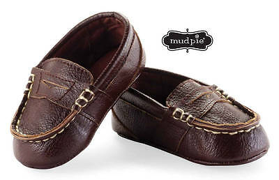 Mud Pie Boys Brown Leather Loafers  0-6 or 6-12 Months DISCONTINUED