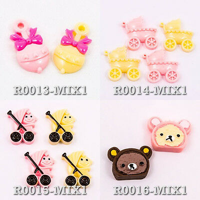 Baby Strollers Cart Bell Maraca Rilakkuma Resin Flat Back Scrapbook Button Craft